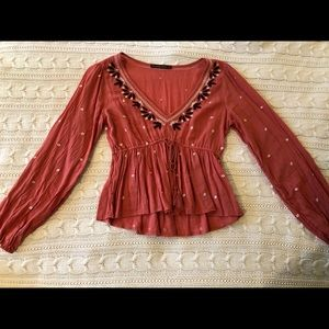 Abercrombie Peasant Embroidered Top